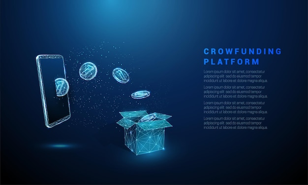 Abstract blue coins flying from smartphone in box crowdfunding  low poly style wireframe vector