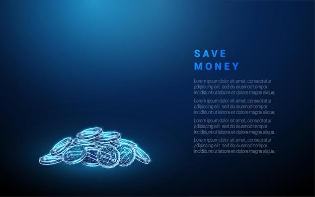 抽象的な青いコインパイル節約お金の概念低ポリスタイルデザイン青い幾何学的な背景