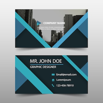 Abstract blue commercial business card