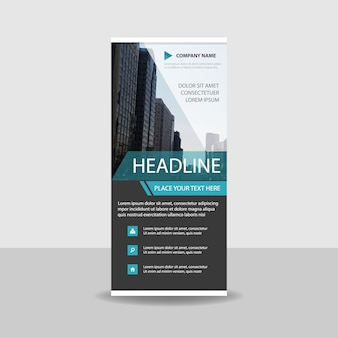Abstract blue commercial roll up banner