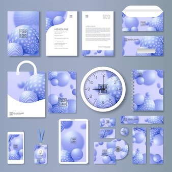 Abstract blue company business stationery set vector