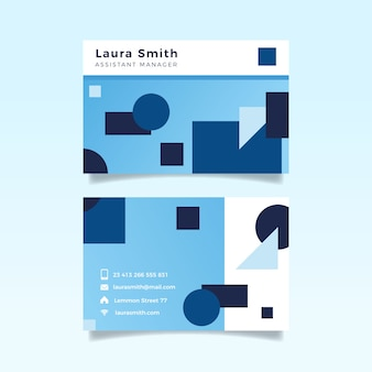 Abstract blue company card with geometrical shapes template