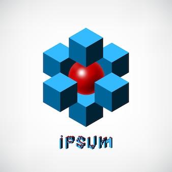 Абстрактные синие кубики и шаблон логотипа красный шар