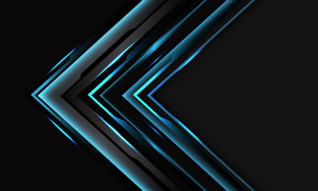 Abstract blue cyber black circuit arrow on dark grey with blank space design modern futuristic