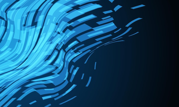 Abstract blue cyber data geometric wave technology on black design futuristic background