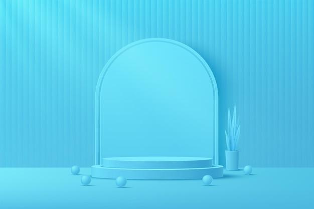 球体ボール植木鉢と3dレンダリングの幾何学的形状で青い最小限の壁のシーンを飾る抽象的な青いシリンダープラットフォーム表彰台