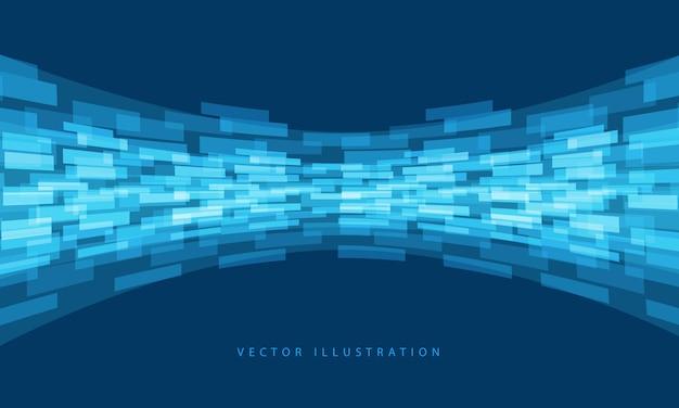 抽象的な青いデータフロー曲線デザイン現代技術未来的な背景ベクトルイラスト。