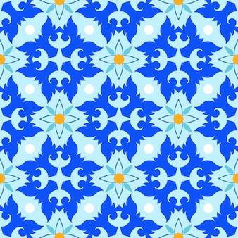 タイ風の抽象的なブルーデザインのシームレスなパターン。