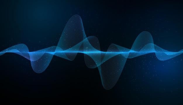 Абстрактный синий цифровой эквалайзер, вектор элемента шаблона звуковой волны