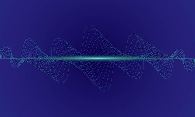 Абстрактный синий цифровой эквалайзер, вектор звуковой волны