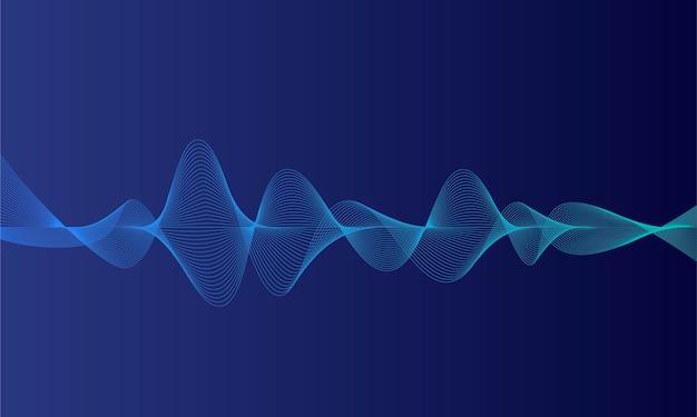 抽象的な青いデジタルイコライザー、音波のベクトル