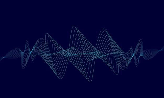 Abstract blue digital equalizer, vector of sound wave