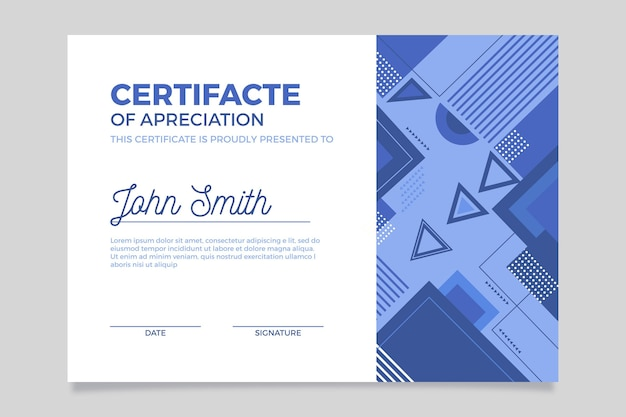 抽象的な青い卒業証書のテンプレート