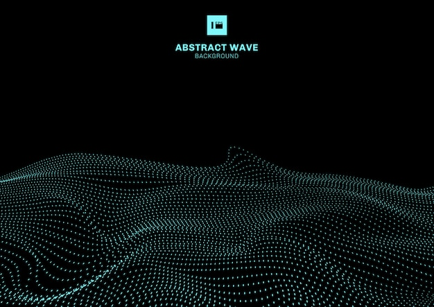 抽象的な青い動的波黒背景