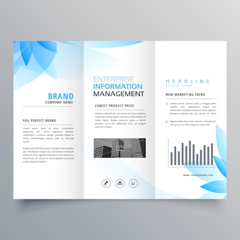 Abstract blue flower style business brochure design template