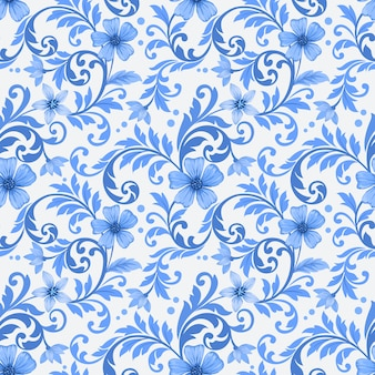 Абстрактные синие цветы орнамент бесшовные модели.
