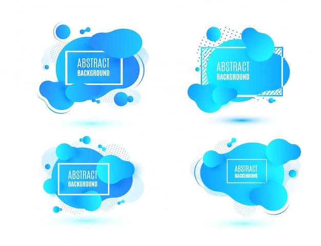 Набор абстрактных синей жидкости формы