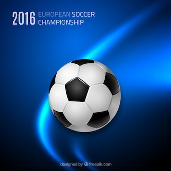 Abstract blue football background with ball