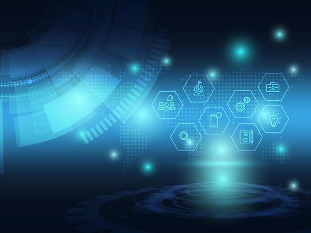 ビジネスアイコンと抽象的な青い未来技術の背景