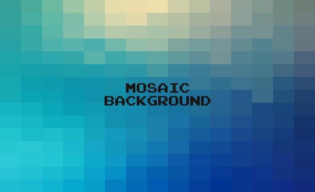 抽象的な青い幾何学的な背景、ピクセルアートグリッドモザイク、8ビットの背景。