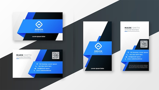 Abstract blue geometric business card design template