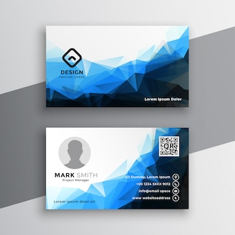 Abstract blue geometric business card template design