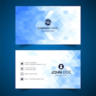 Abstract blue geometric business card template