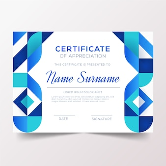 抽象的なブルーの幾何学的な証明書テンプレート
