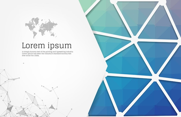 Abstract blue geometric design template with triangular polygonal background.