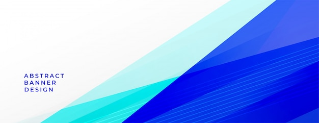 Abstract blue geometric lines background banner with text space