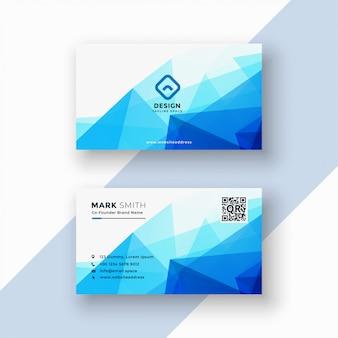 Abstract blue geometric triangle shape business card