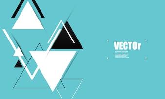 三角形と抽象的なブルーの幾何学的なベクトルの背景。