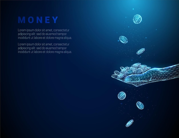 Абстрактный синий, давая руку, полную монет и падающих монет.