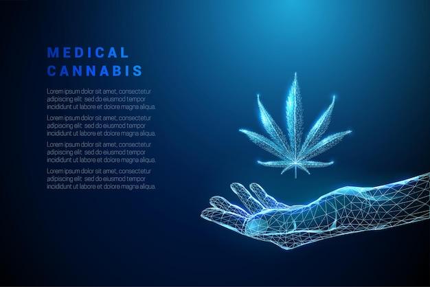 大麻の葉と手を与える抽象的な青