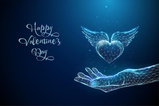 Абстрактный синий, давая руку с сердцем с крыльями