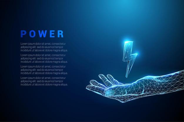 稲妻と手を与える抽象的な青低ポリスタイルのデザインモダンな3dグラフィックワイヤーフレームベクトル