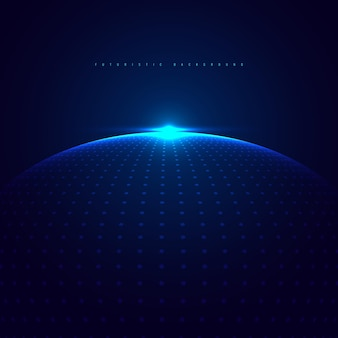 Abstract  blue glowing dots particles sphere with lighting on dark blue background technology futuristic concept.
