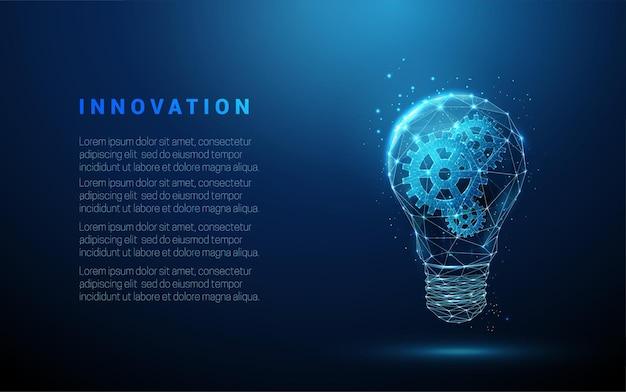 低ポリスタイルのデザインの内部にギアを備えた抽象的な青い白熱電球抽象的な幾何学的な背景ワイヤーフレームライト接続構造