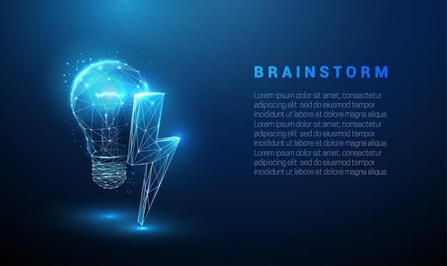稲妻と抽象的な青い光る電球。