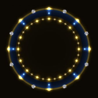 Abstract blue golden ring