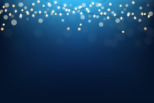 光沢のある光と抽象的な青いグラデーションの背景。ベクトルイラスト