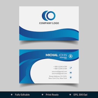Abstract blue gradient business card template