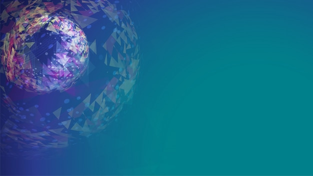 Abstract blue green polygonal sphere background