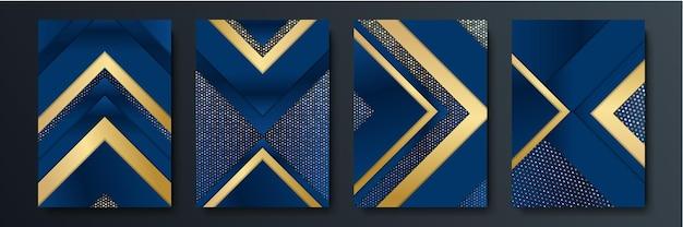 抽象的なブルーグレーゴールド矢印メタリック方向高級オーバーラップデザインモダンな未来的な背景ベクトルイラスト。