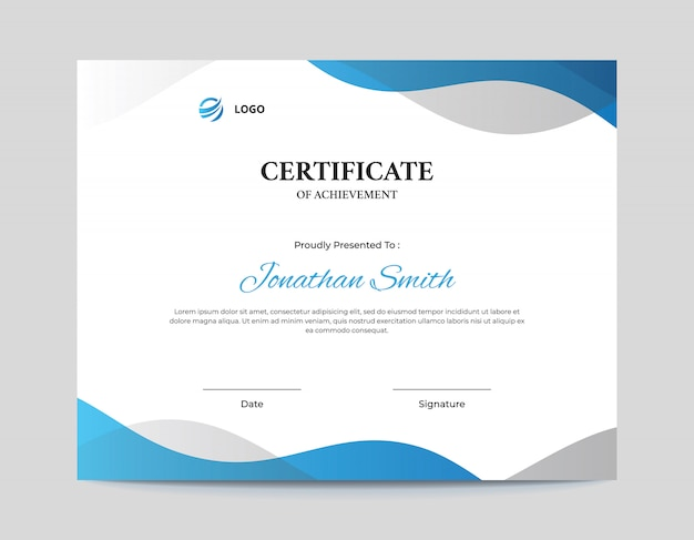 Abstract blue and grey waves certificate design template