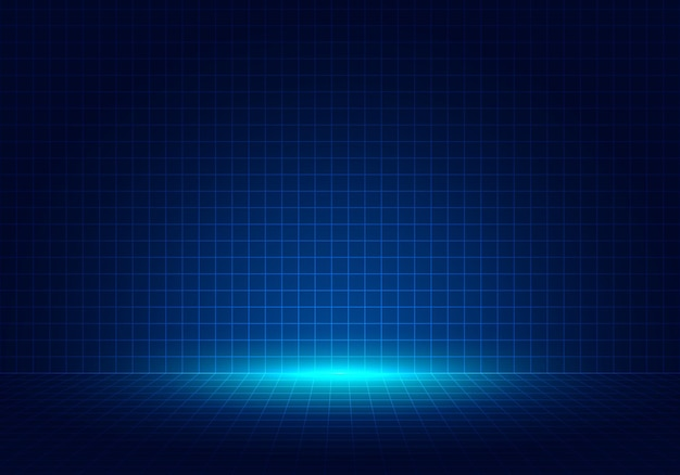 抽象的な青いグリッド遠近法デザインの背景