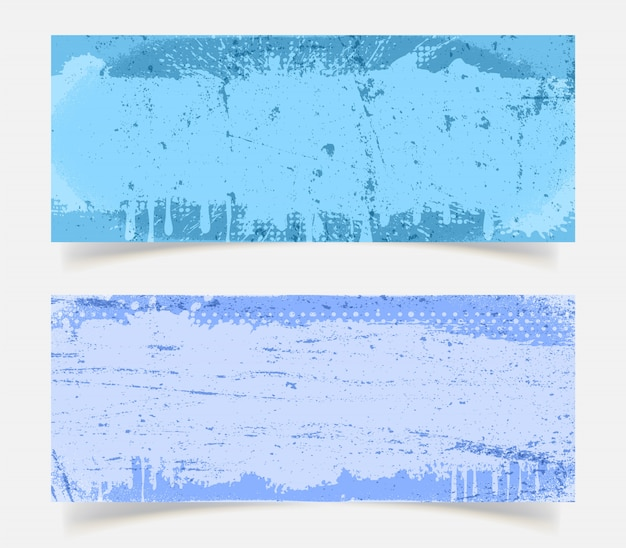 Abstract blue grunge background set