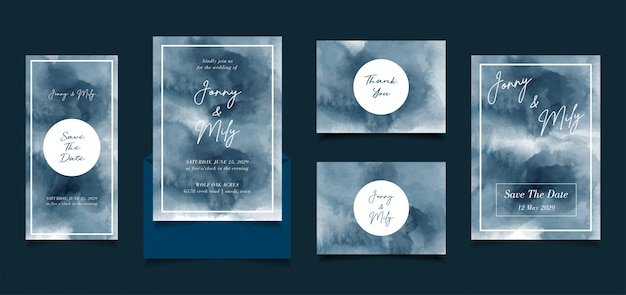 Abstract blue hand painted watercolor invitation wedding design