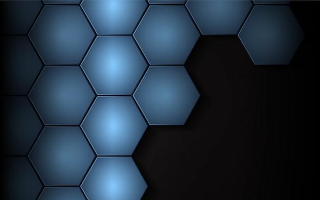 Abstract blue hexagon on dark background