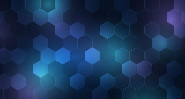 抽象的な青い六角形の未来的なデザインの背景。